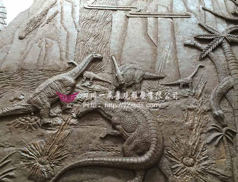 """湖北""""侏罗纪""""恐龙浮雕制作"""