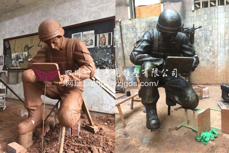 西宁武警总队第一支队玻璃钢竞博投注《警魂》设计与制作