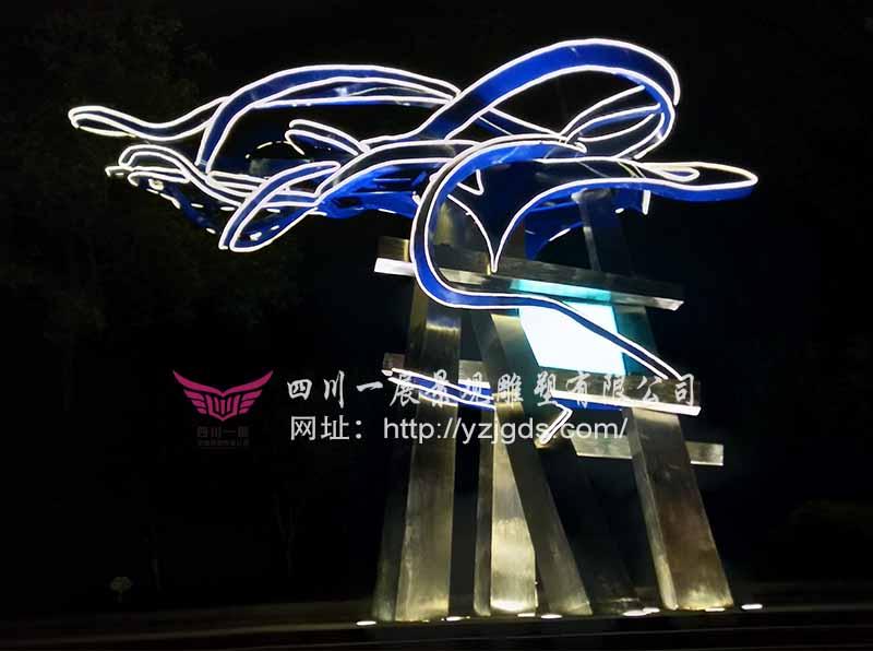 2018华侨城·自贡国际恐龙灯光节不锈钢竞博投注《蒸腾》